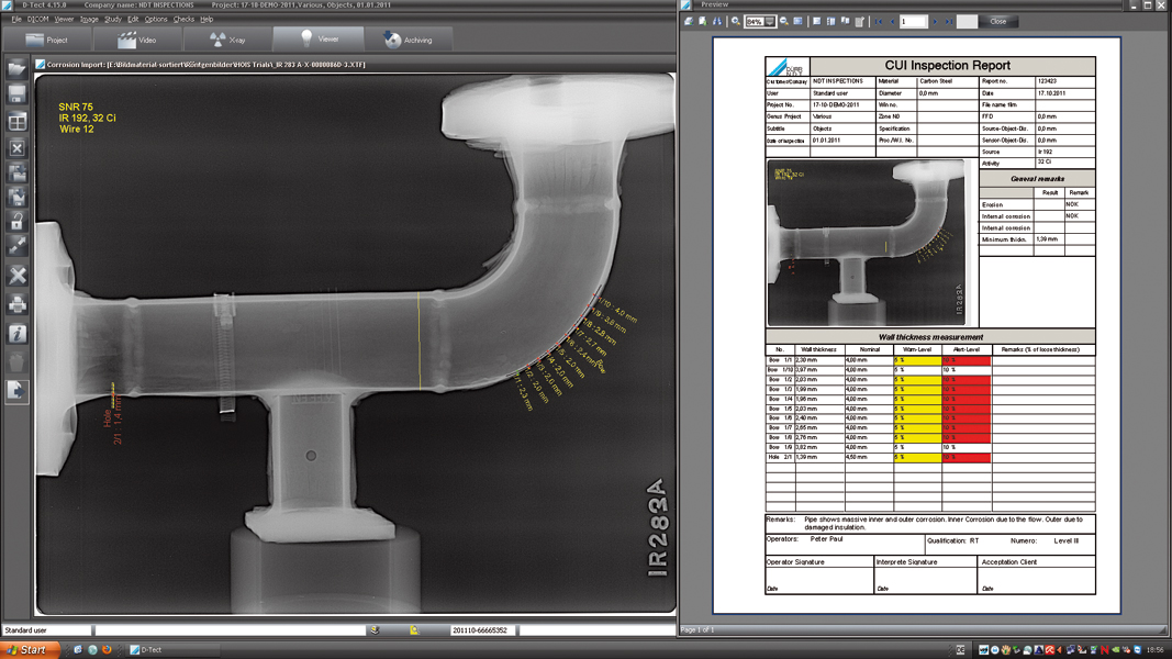 D Tect Ndt Software Diconde Compliant Bsr Wall